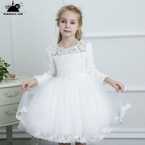 5e6bd9b0e Couture Flower Girl Dresses Couture White Lace Long Sleeve Flower Girl  Dress Wedding Dress Ballgown High Quality #TG7036 at GemGrace.