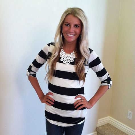 Black and White Striped Pocket Top with Button Ruched Sleeves- Absolutely LOVE!!