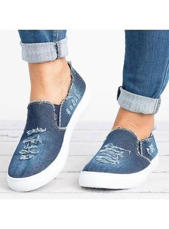 14.67] Women's Denim Flat Heel Flats Closed Toe With Others