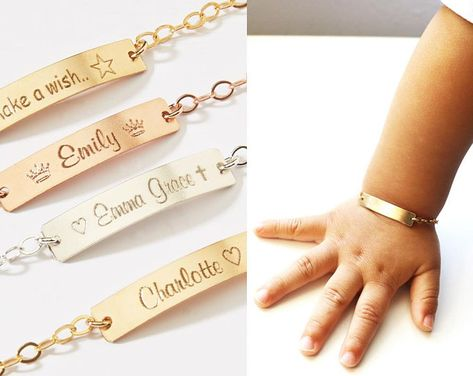 Custom Child ID Bracelets Girls Boys-Name Phone number Date-Adjustable Baby Toddler-Personalized Gold