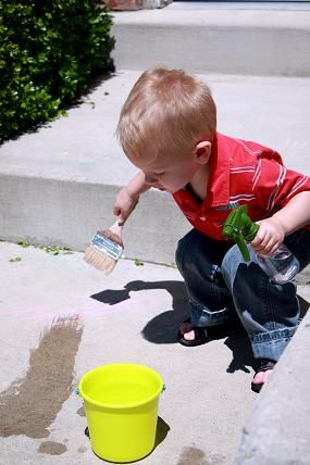 painting with water...early exploration of evaporation (NO, that's not me in the photo)