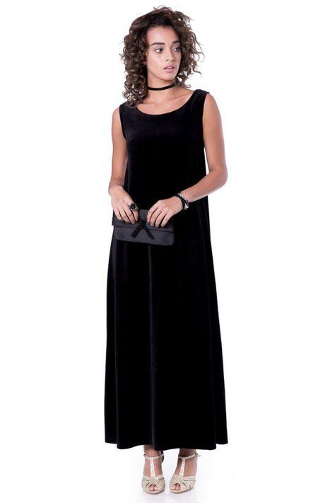 5970316341e Black maxi dress Evening sleeveless maxi dress Velvet black