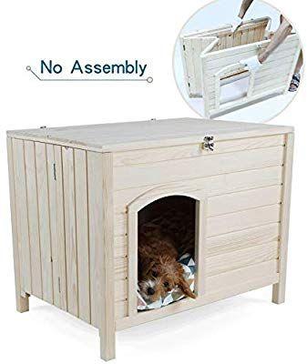 Amazon Com Petsfit No Assembly Portable Wooden Dog House 31 X