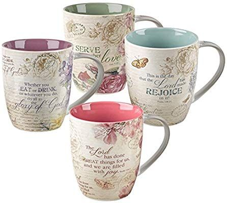 Christian Art Gifts Floral Inspirations Collection Inspirational Mugs Set 4 Mugs Mugs Set Colorful Coffee
