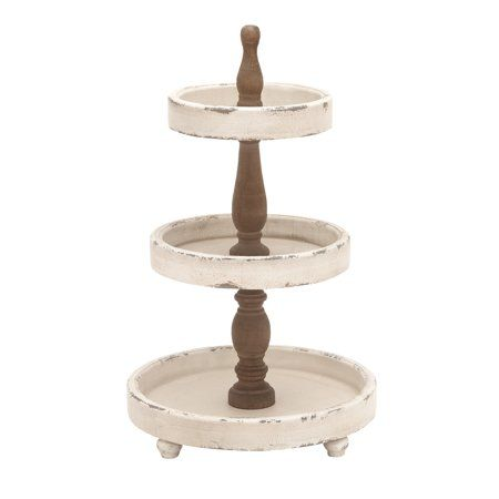 Decmode Large 3 Tier Distressed White And Natural Wood Round Serving Tray Stand Party Serving Trays Wood Tray Stand Farmhouse Style Food Trays 15 X 25 Three Tier Tray Tiered