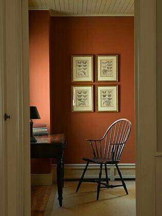 Rust Red Wall Historic Paint Colours Orange Walls Interior