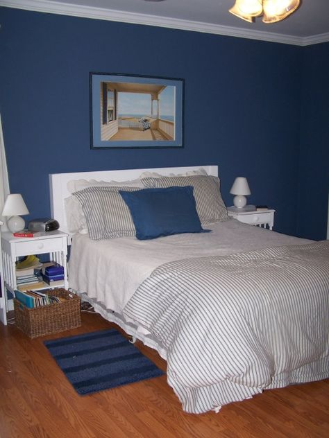 Blue Bedroom, Denim blue paint from Sherwin-Williams.