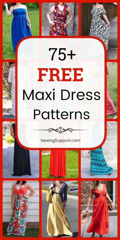 Over 75 Free Maxi Dress Patterns for Women Over 75 Free Maxi Dress Patterns for Women,Bekleidung Maxi Dress DIY: Over 75 free maxi dress sewing patterns, tutorials, and projects. Many simple and easy styles. Dress Sewing Patterns, Sewing Patterns Free, Free Sewing, Pattern Sewing, Pattern Drafting, Sewing Hacks, Sewing Tutorials, Sewing Tips, Sewing Ideas