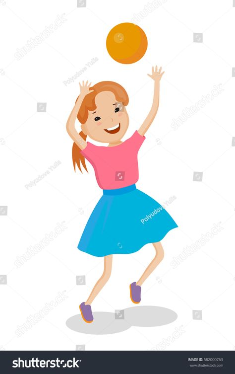 Playing of little cartoon fun girl in bright dress with small ball #Ad , #Aff, #fun#girl#Playing#cartoon
