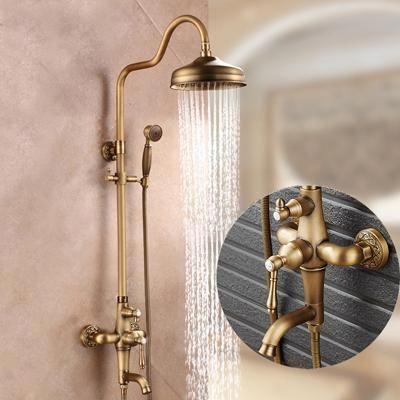 Single Handle Antique Brass Bronze Design Shower Faucet Set With Storage Holder Rough In Valve Include Shower Faucet Sets Shower Faucet Brass Bathroom Fixtures