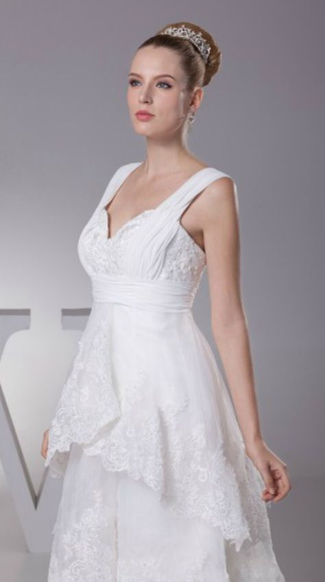 716435c83d Gorgeous Short in Front Long in Back Lace Layered Wedding Dress with  Sweetheart Neck with Jacket for Older Bride Over 40