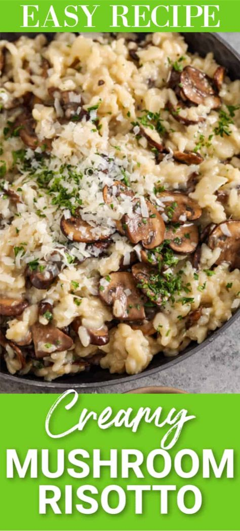 This creamy mushroom risotto recipe is loaded with flavor. Made with mushrooms, parmesan, and white wine it is a gourmet recipe that is so easy to prepare. #spendwithpennies #mushroomrisotto #sidedish #gourmetsidedish #easysidedish #creamymushroomrisotto