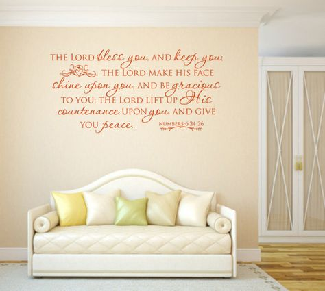 Religious Wall Decal. WE ARE VINYL DESIGNS is the #1 place to shop for UNIQUE, one-of-a-kind, Christian wall vinyl quotes! Youll also find a wide variety of quotes and verses in Scripture, for the home, crafting, and much more. ..................................................................................................................... =============== COLOR CHOICES: =============== Choose from 42 popular colors (see Color Chart). Select your color from the drop-down menu in the righ...