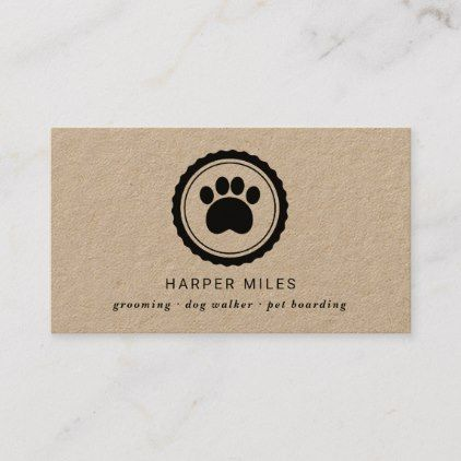Rustic Dog Grooming Paw Print Label Business Card Zazzle Com Dog Walker Business Cards Dog Grooming Printing Labels