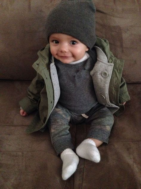 My sweet trendy little boy's style. Parka from baby gap. Onesie is Nordstrom baby. Camo pants are tucker and Tate.: