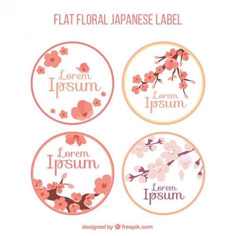 Pacote de etiquetas japonesas com flor de cerejeira Vetor grátis