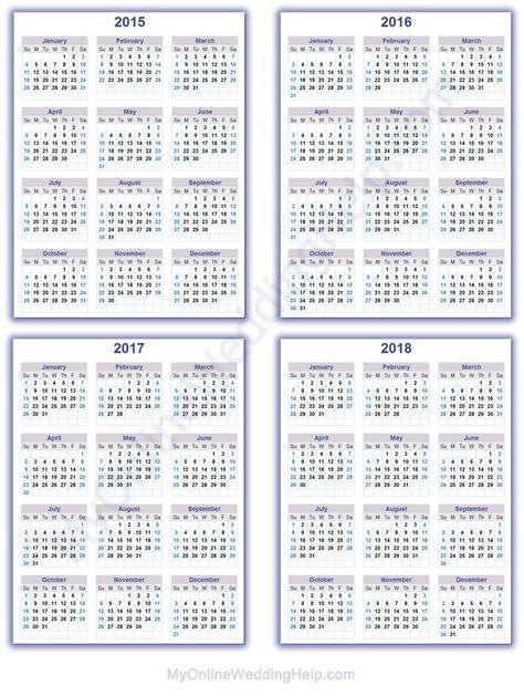 Year calendars for 2015, 2016, 2017, and 2018. #MyOnlineWeddingHelp