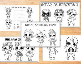 Personalized Lol Surprise Doll Birthday Party Coloring Pages Party Favors Printable Digita Birthday Coloring Pages Coloring Pages Coloring Pages For Kids