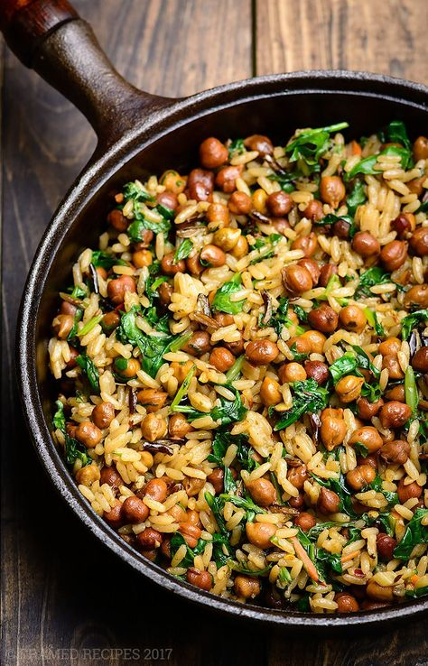 Here is a easy, healthy, hearty, nutritious, versatile & elegant dish - Wild Rice with (Black) Garbanzo Beans. Meatless Mondays just got tastier.