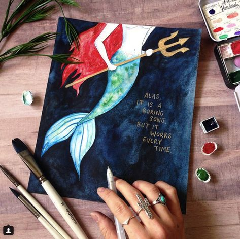 This beautiful painting by @lyssletters just Mermaid our day! Tap