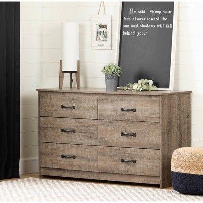 Tassio 6 Drawer Double Dresser Weathered Oak South Shore Brown Furniture Bedroom Furniture Weathered Oak