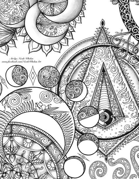 Mystic Coloring Book Original Art Moon Phases Crescents