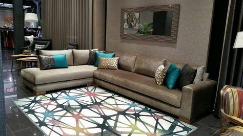 Salon moderne – design – canapé L – salon européen – Créa ...