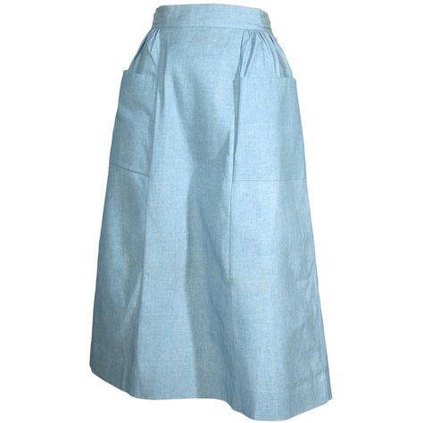 1940s Light Blue Denim Skirt ($95) ❤ liked on Polyvore featuring skirts, vintage denim skirt, knee length denim skirt, blue denim skirt, denim skirt and light blue denim skirt