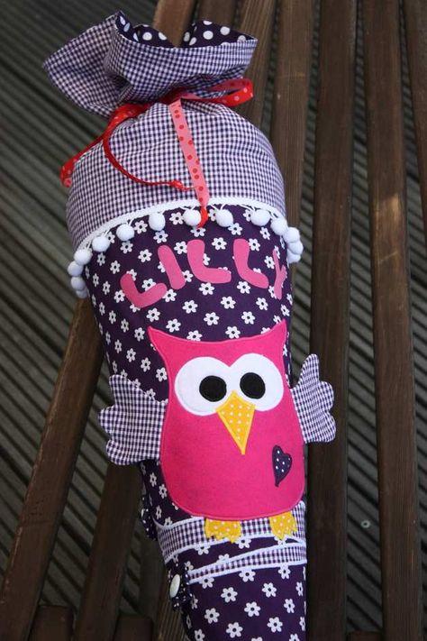 schultüte  zuckertüte aus stoff mit eule  schultüte