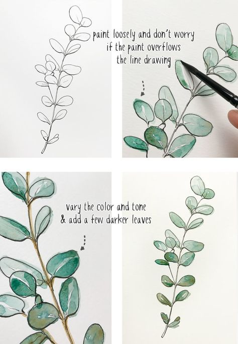 beginners-line-and-wash-eucalyptus-painting Anfänger-Line-and-Wash-Eukalyptus-Malerei The post Anfänger-Line-and-Wash-Eukalyptus-Malerei appeared first on Frisuren Tips. Anfänger-Line-and-Wash-Eukalyptus-Malerei The Watercolor Paintings For Beginners, Watercolour Tutorials, Beginner Painting, Watercolor Techniques, Art Techniques, Flower Drawing Tutorials, Beginner Art, Watercolor Tutorial Beginner, Watercolor Flowers Tutorial