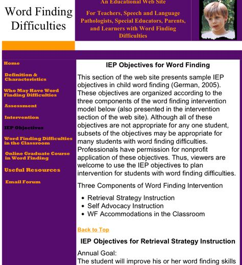 Word Finding  IEP Objectives