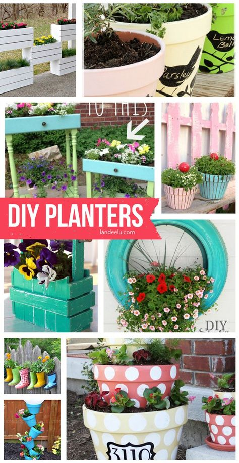 DIY Planters | Step by Step Tutorials and do it yourself projects | http://landeelu.com Lots of fun ideas to make your garden, patio and front porch pretty and original and full of gorgeous flowers and plants this year!