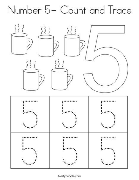 Number 5 Count And Trace Coloring Page Twisty Noodle Preschool Number Worksheets Math Activities Preschool Tracing Worksheets Preschool