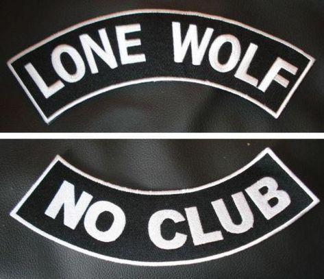 """LONE WOLF MOTORCYCLE BIKER MC CLUB TRUCKER ROCK VEST 11/"""" ROCKER PATCH BL-10"""