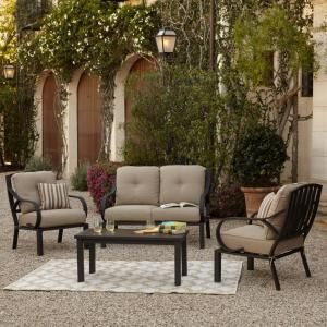 Royal Garden Norman 4 Piece Patio Conversation Set With Beige Cushions 1700040003 The Home Depot Conversation Set Patio Outdoor Furniture Sets Patio Cushions