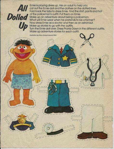 Sesame Street Ernie And Prairie Dawn Paper Dolls Page