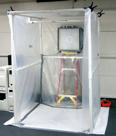 How To Create A Paint Booth In Your Garage Diy Paint Booth Garage Workshop Paint Booth