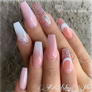 Light Peachy Pink Ombre And Glitter On Long Coffin Nails Nail Artist Nailsby Jb Follow Her For More G Trendy Nails Coffin Nails Long Pink Nails