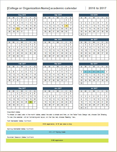 College Year Calendar Download At Http://Worddox.Org/College-Year