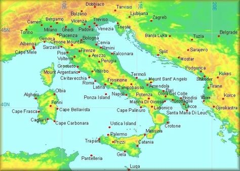 Map of Croatia and Italy  climatological information for Italy
