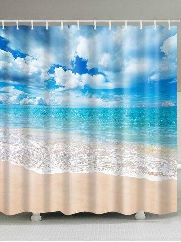 Beach Scenery Waterproof Polyester Shower Curtain Cheap Shower