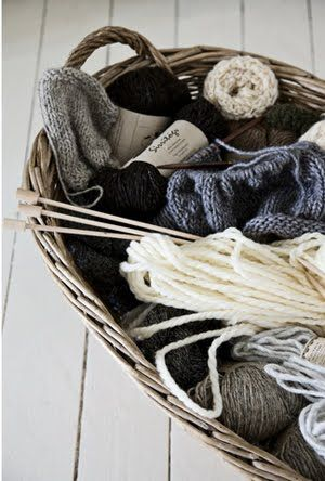 I should take up knitting again. Just because a basket of knitting yarn on the floor would look so lovely!