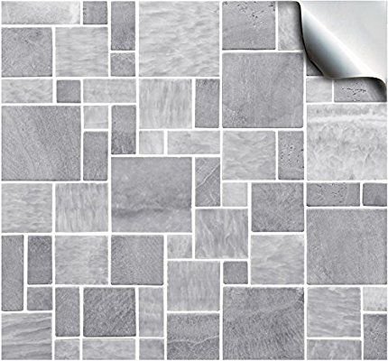 30 Light Grey Self Adhesive Mosaic Wall Tile Decals For 150mm 6 Inch Square Tiles Tp3 Stick On Wall Tiles Stick On Tiles Bathroom Tile Stickers