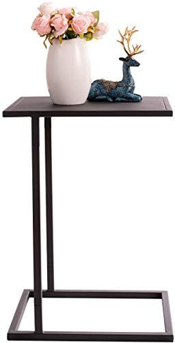 Beautiful Hollyhome C Shaped Snack Small Space Side Table Mental Anti Rust And Waterproof Sofa End Tables Black Furniture Living Room Living Room Coffee Table