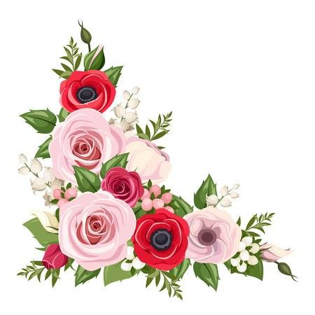 Red And Pink Roses Lisianthus And Anemone Flowers And Lily Of Red And Pink Roses Anemone Flower Flower Drawing