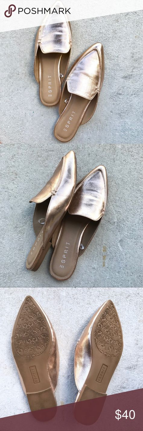 92bf4a34fe036d Esprit Mia Rose Gold Mules Rose gold pointed-toe loafers from Esprit with a  cushioned heel. Wore them once and they re beautiful but I have too many  mules ...