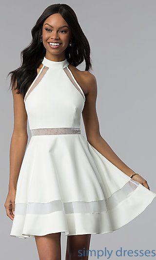 High,Neck Short White Cut,Out Graduation Dress