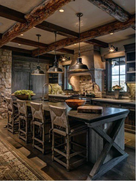 Rustic Kitchen Ideas - Surf photos of rustic kitchen layouts. Discover motivation for your mountain style kitchen remodel or upgrade with ideas for storage, organization, design and . Kitchen 30 Most Popular Rustic Kitchen Ideas You'll Want to Copy Rustic Kitchen Lighting, Rustic Kitchen Cabinets, Rustic Kitchen Design, Primitive Kitchen, Kitchen Interior, Rustic Kitchens, Rustic Design, Kitchen Worktop, Island Kitchen