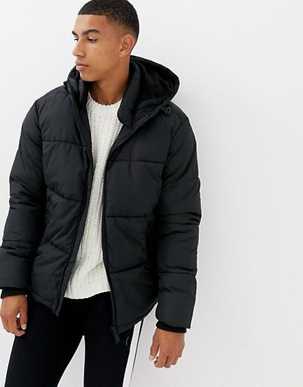 73085c66 River Island puffer jacket with hood in black | jackets for men in ...