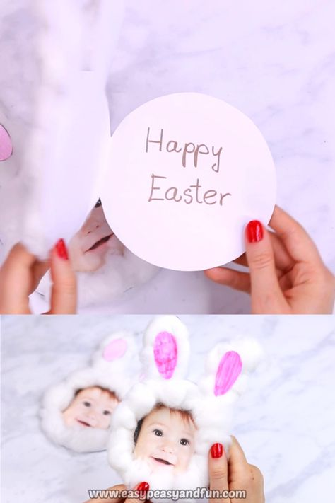 This adorable cotton ball bunny craft is the coolest DIY Easter card you can make.